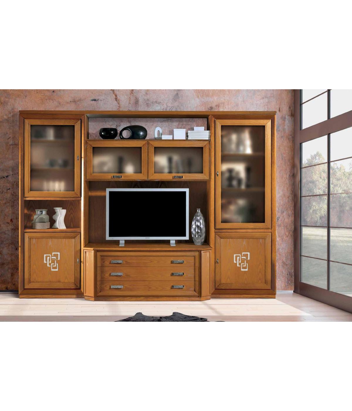 MOBILI 2G - INTERPARETE PORTA TV IN FRASSINO CHIARO PORO APERTO SEMILUCIDO  CON ZOCCOLO  L.313 P.58 H.227