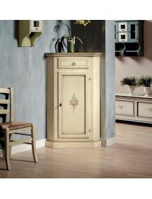 MOBILI 2G - Mobile Angolo in legno 1 porta 1 cassetto arte povera laccato avorio l.54 x 54 h.130