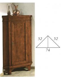 MOBILI 2G - Mobile Angolo in legno 1 porta arte povera tinta noce l.52 x 52 h.138