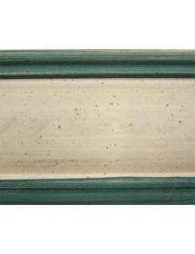 MOBILI 2G - Cassettiera 7 cassetti in legno arte povera laccato bianco con profili blu e decori L.49 x P.37 H.106