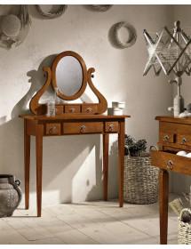 MOBILI 2G - Consolle in legno in 6 cassetti con specchiera arte povera tinta noce L.90 x P.40 H.81