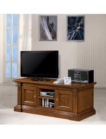MOBILI 2G - Porta tv in legno 2 porte 2 vani centrali arte povera tinta noce L.158 x P.60 H.62