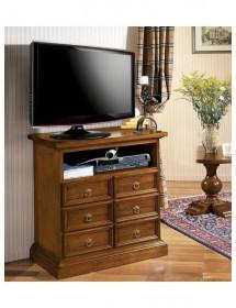 MOBILI 2G - Porta televisore in legno 6 cassetti con vano a giorno arte povera tinta noce L.83 x P.47 H.84