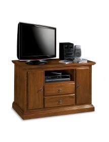 MOBILI 2G - Porta televisore in legno 2 cassetti 2 porte con vano a giorno arte povera tinta noce L.110 x P.45 H.68