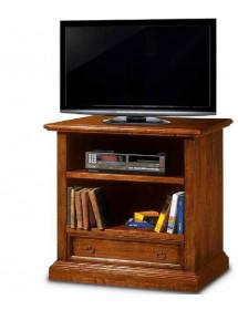 MOBILI 2G - Porta televisore in legno 2 vani 1 cassetto arte povera tinta noce L.85 x P.47 H.79