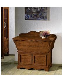 MOBILI 2G - Cassapanca-madia in legno 2 porte arte povera tinta noce L.115 x P.49 H.97
