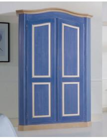 MOBILI 2G - Armadio 2 porte in legno laccato blu e miele arte povera L.131 x P.63 H.214