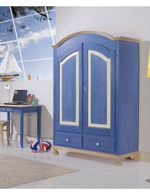 MOBILI 2G - Armadio 2 porte in legno laccato blu e miele arte povera L.125 x P.60 H.200
