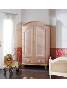 MOBILI 2G - Armadio 2 porte in legno laccato rosa e miele arte povera L.125 x P.60 H.200