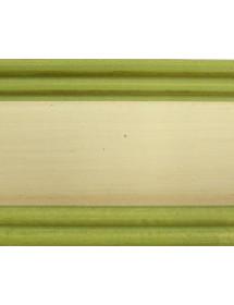 MOBILI 2G - Cassapanca in legno arte povera laccato avorio con profilo verde L.100 x P.44 H.51