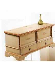 MOBILI 2G - Cassapanca in legno arte povera 2 cassetti laccato avorio con profilo ocra L.120 x P.46 H.51