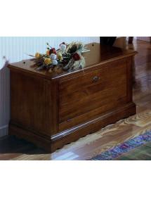 MOBILI 2G - Cassapanca in legno arte povera doppia apertura tinta noce scuro L.100 x P.43 H.50