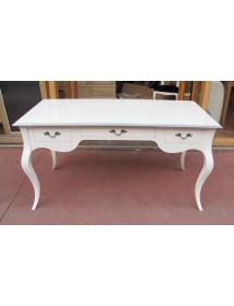MOBILI 2G - Scrivania in legno laccato bianco opaco l.130 x p.75 h.80