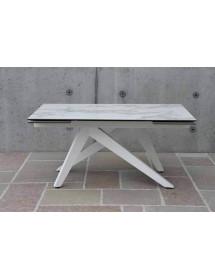 MOBILI 2G - TAVOLO BIG TABLE PIANO VETRO CERAMICA FINITURA MARMO MISURA L.160 P.90 H.76(APERTO 240 CM)