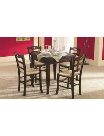 Set tavolo legno allungabile quadrato +4 sedie legno seduta paglia