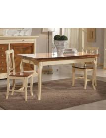 MOBILI 2G - Set tavolo legno allungabile bicolore +4 sedie legno seduta legno bicolore