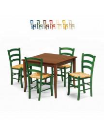 MOBILI 2G - Set tavolo legno 80x80 allungabile + 4 sedie legno Shabby Verde