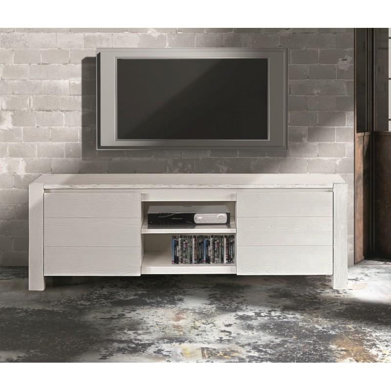 Mobile porta tv in abete bianco spazzolato - Porta tv bianco ...