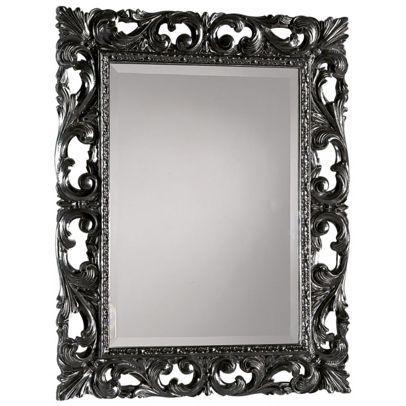Specchiera barocca rettangolare laccato nero lucido - Specchio cornice nera barocca ...