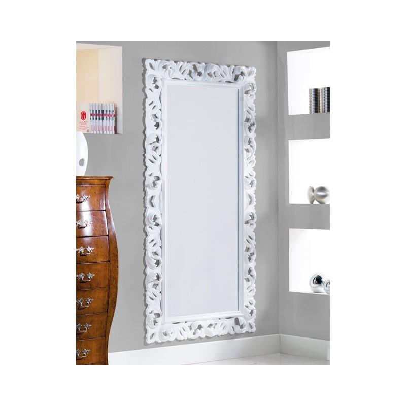 specchiera intagliata laccata bianco lucido