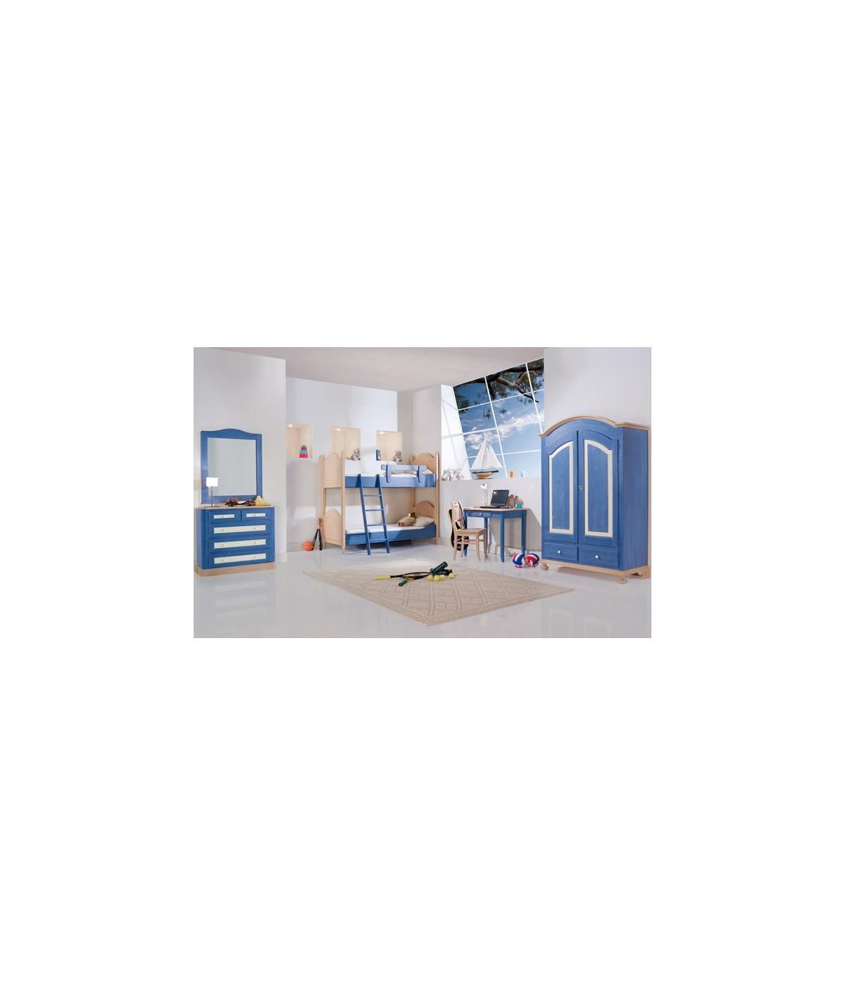 Letto A Castello 190x80.Cameretta Letto A Castello Colore Blu
