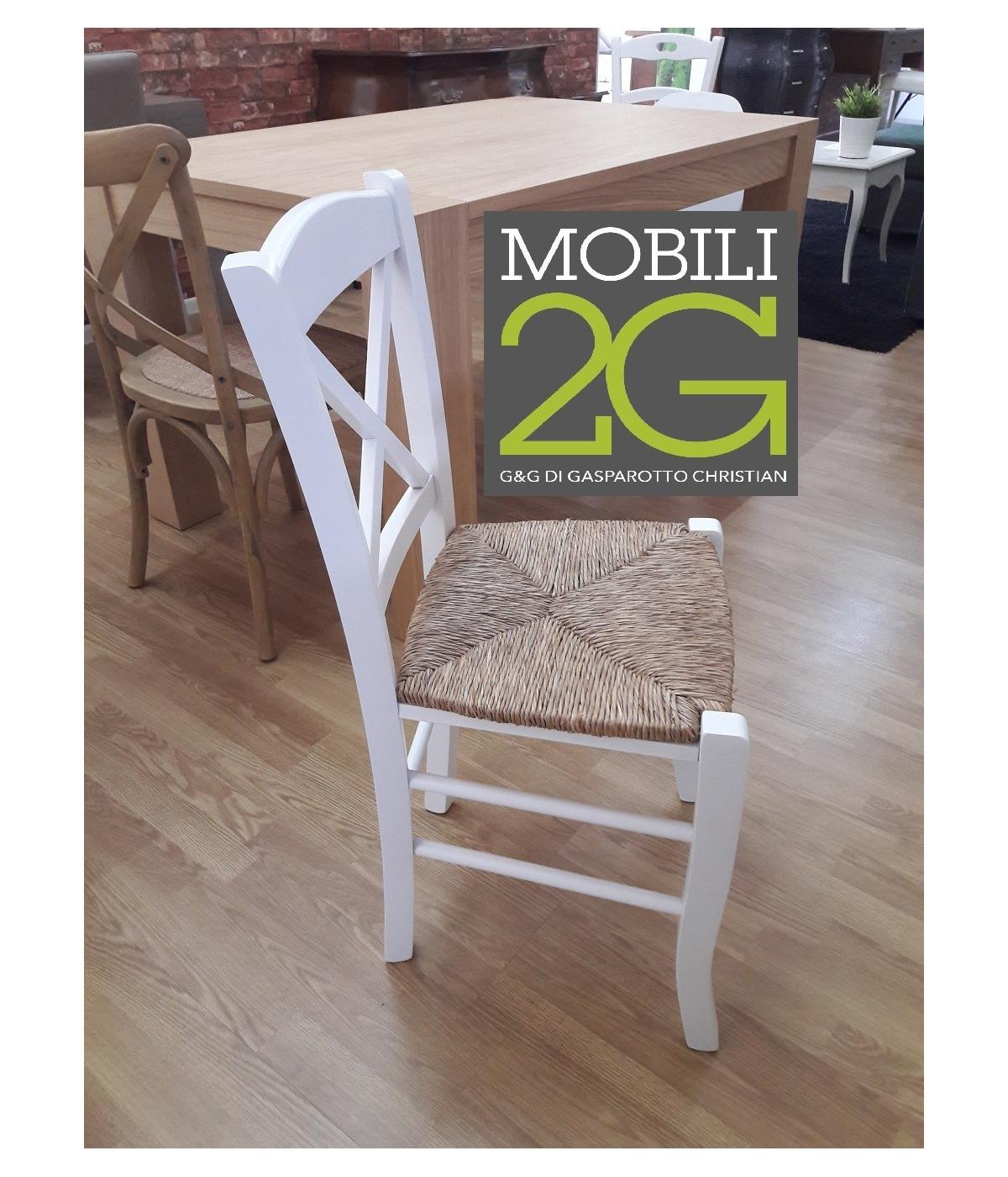 MOBILI 2G - SET 2 SEDIE SHABBY CROCE LEGNO/PAGLIA LACCATO BIANCO