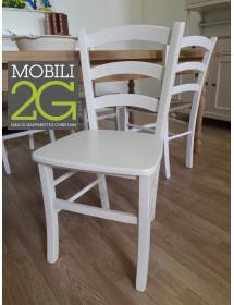 MOBILI 2G - SET 2 SEDIE SHABBY CAMPAGNOLA LEGNO LACCATO BIANCO