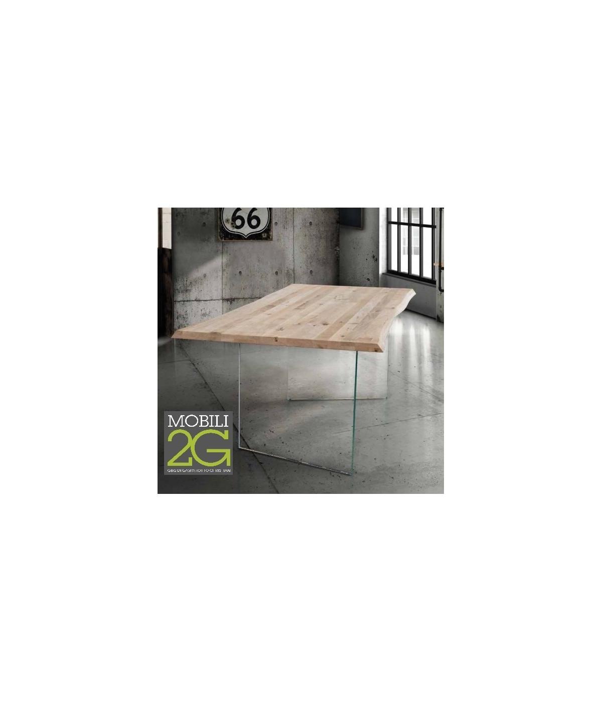 Tavolo Cristallo Gambe Legno.Tavolo Fisso In Legno Rovere Massello 180x90 Spessore 4 Cm E Gambe In Vetro