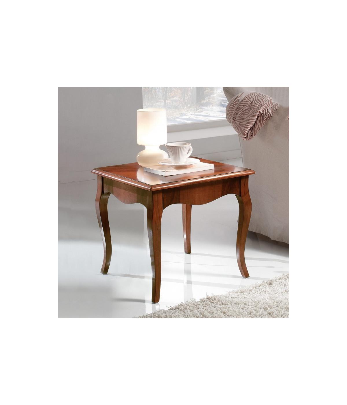 Tavolino In Legno Massello Tinta Noce Intarsiato Misura L 50 P 50 H 45