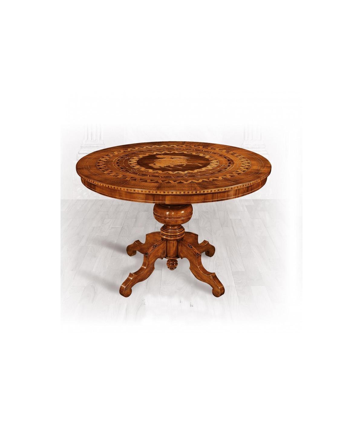 Tavolo Rotondo In Legno Intarsiato Misura Diametro 120 H 78