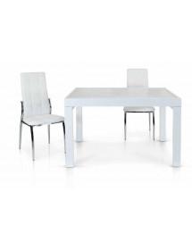 Tavolo Allungabile Vetro Bianco Base Metallo Bianco Misura 70x70 H 75